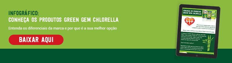 Infográfico Conheça os produtos Green Gem Chlorella