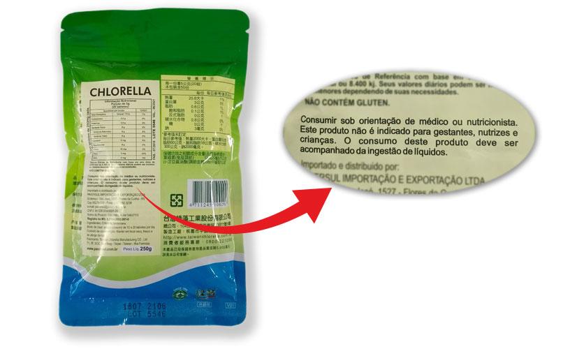 Rótulos dos produtos Green Gem Chlorella - contraindicação