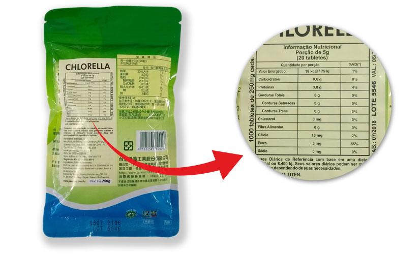 Rótulos dos produtos Green Gem Chlorella - informações nutricionais